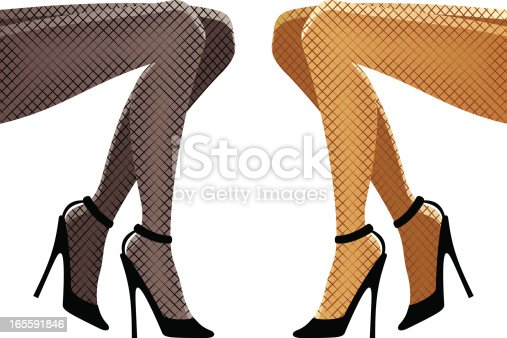 Sexy young woman's legs on high heels. Fishnet stockings can be easily removed if not needed - they're only two objects to delete, you can also change their color in a couple of clicks. Vector illustration in two color schemes, linear gradients used.