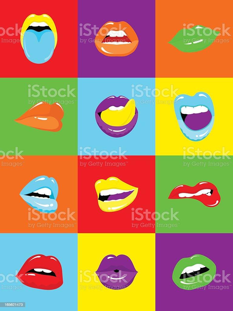 Sexy Lips Popart Illustration Vector stock vector art