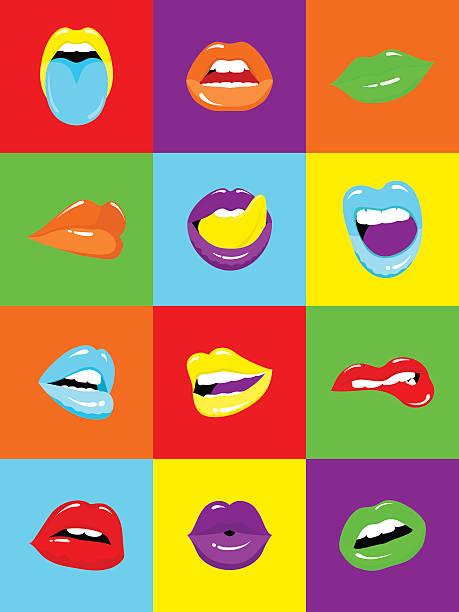 sexy lèvres popart illustration vectorielle - Illustration vectorielle