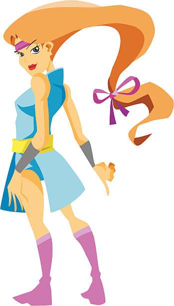 Sexy Ninja Girl Cartoon Character vector art illustration