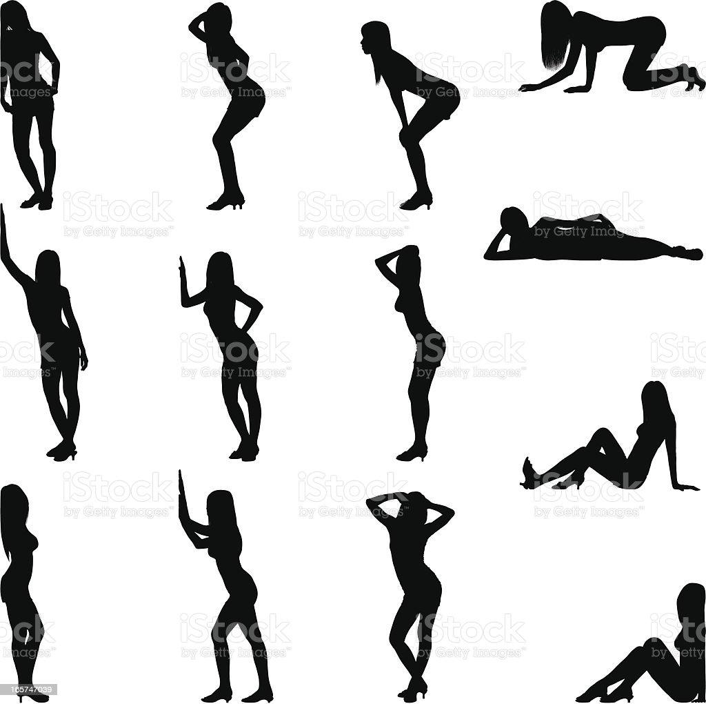 Sexy Poses vector art illustration