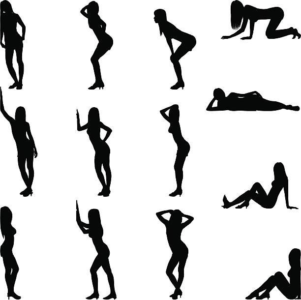 illustrazioni stock, clip art, cartoni animati e icone di tendenza di sexy posizioni - donna seducente