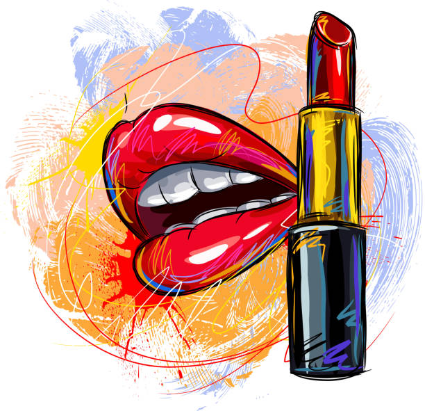Best Red Lipstick Illustrations, Royalty-Free Vector ...