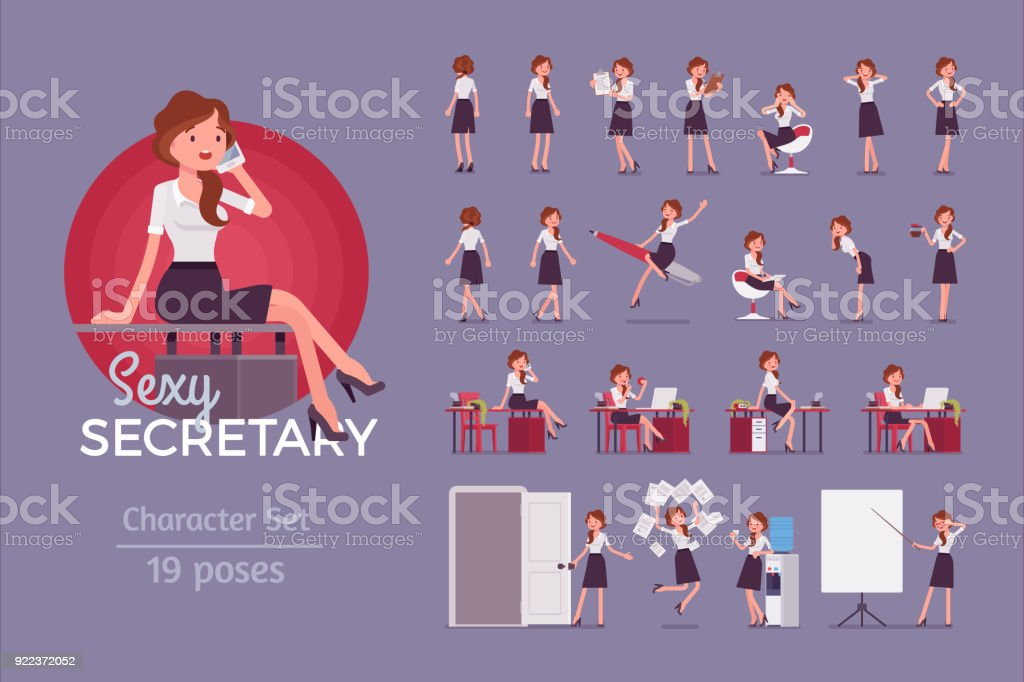 Sexy secretary ready-to-use character set vector art illustration