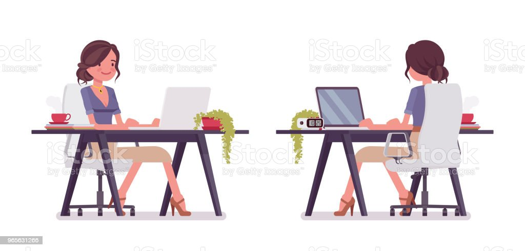 Sexy secretary on computer