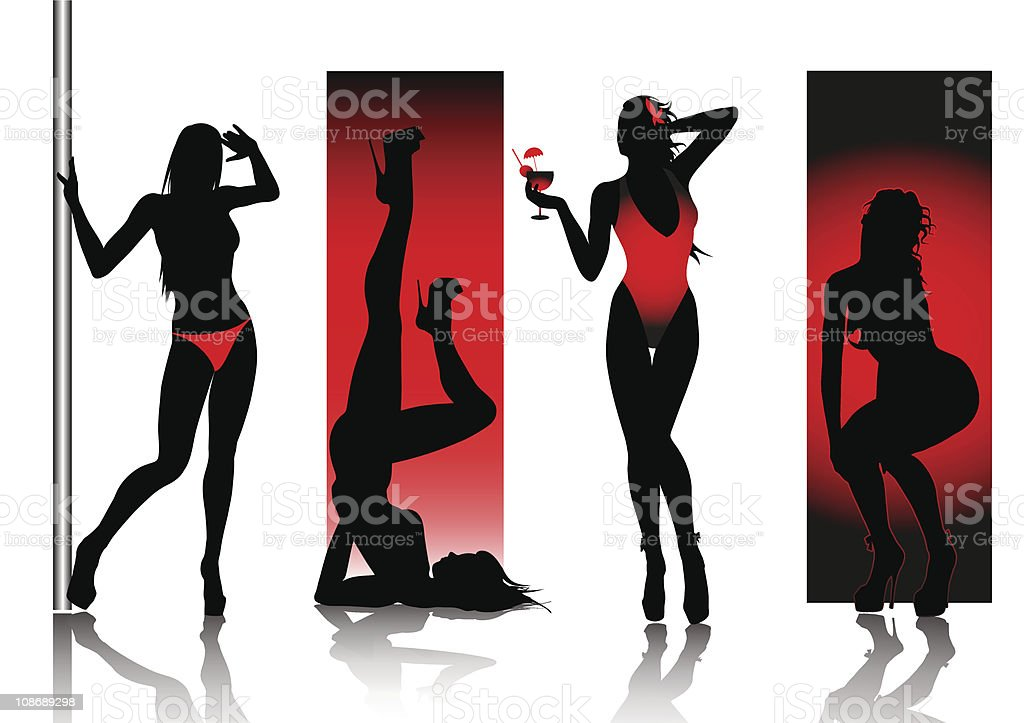 Sexy silhouettes in red vector art illustration