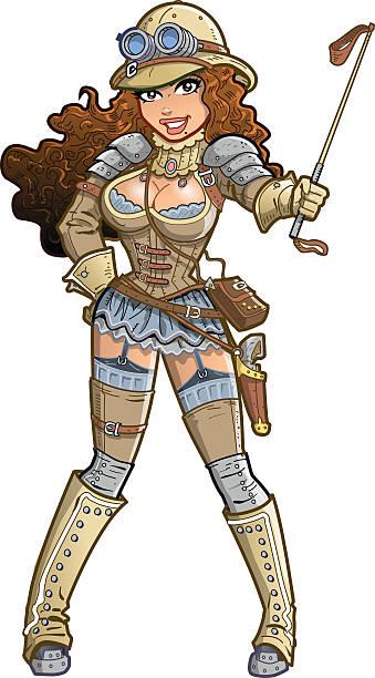 Sexy Steampunk Explorer vector art illustration