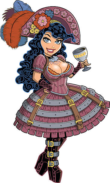 Sexy Steampunk Pirate Girl vector art illustration