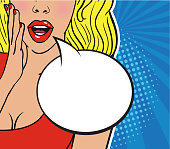Sexy surprised blond girl in red dress on striped blue background. Comic speech empty bubble with halftone.