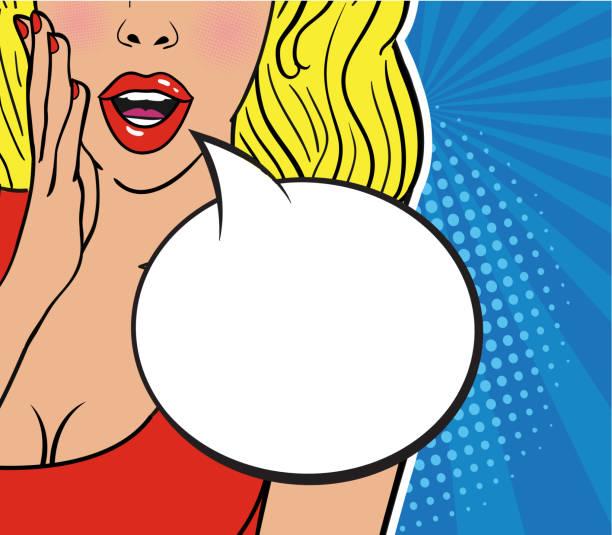 illustrazioni stock, clip art, cartoni animati e icone di tendenza di sexy surprised blond girl in red dress on striped blue background. comic speech empty bubble with halftone. - donna seducente