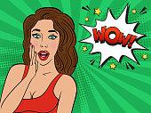 Colorful vector illustration of woman face, vintage comics design, pop art style background.