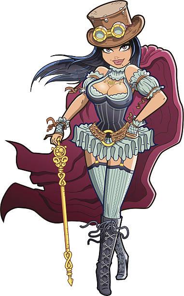 Sexy Victorian Steampunk Woman vector art illustration