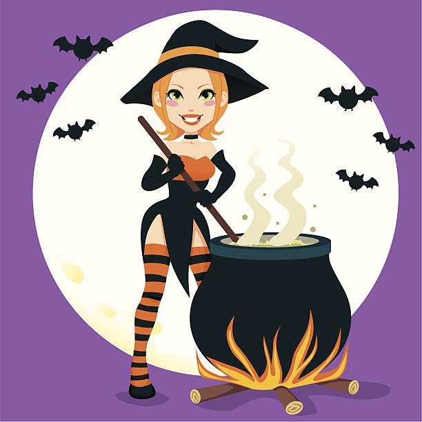Sexy Witch Cauldron vector art illustration