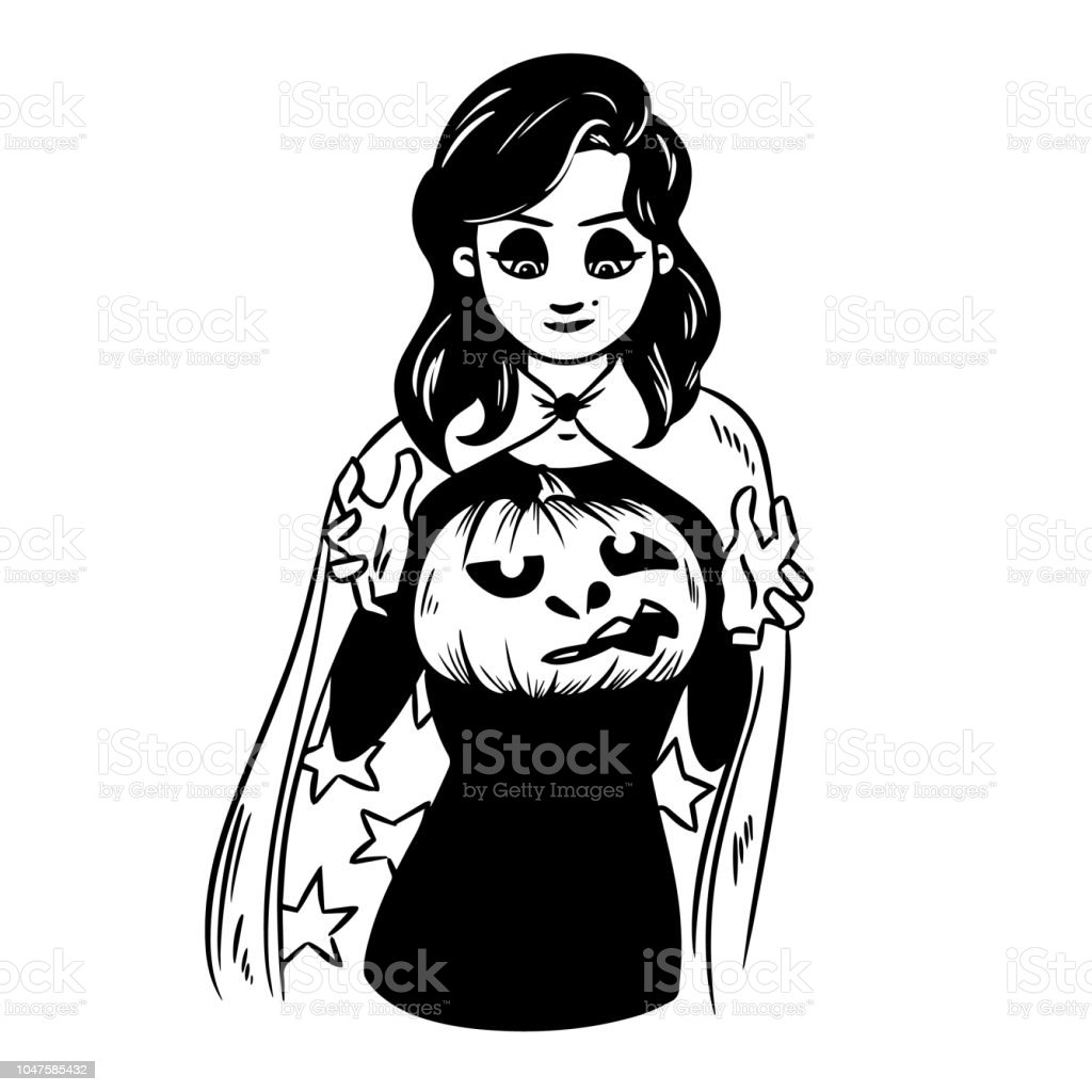 Halloween Vector Black And White.Sexy Witch Holds A Pumpkin Lantern Halloween Vector Black And White