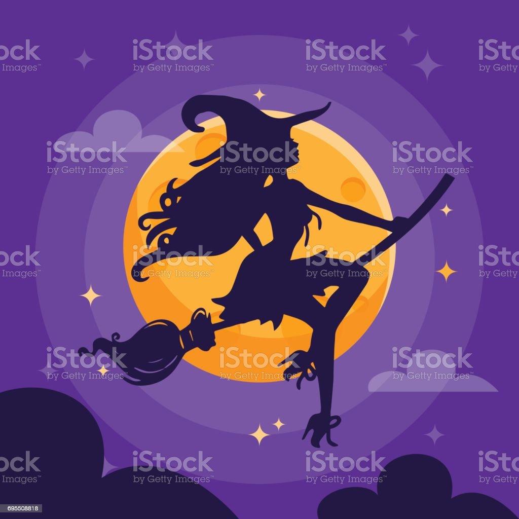 Sexy Witch Silhouette Dark Halloween Night