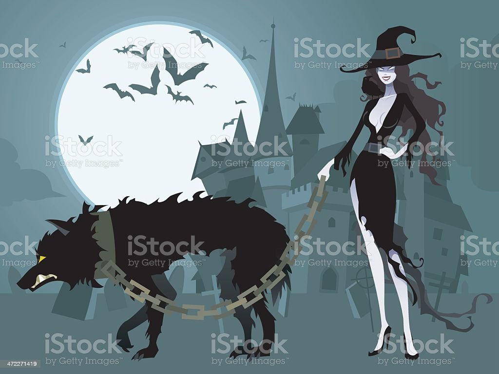 Sexy Witch Walking Pet Wolf vector art illustration