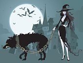 Sexy Witch Walking Pet Wolf