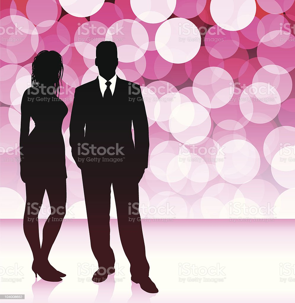 Sexy young couple on red glowing background royalty-free stock vector art