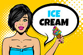 Caucasian brunette young girl pop art. Sexy young woman hold ice cream. Comic text advertise speech bubble. Halftone summer background.