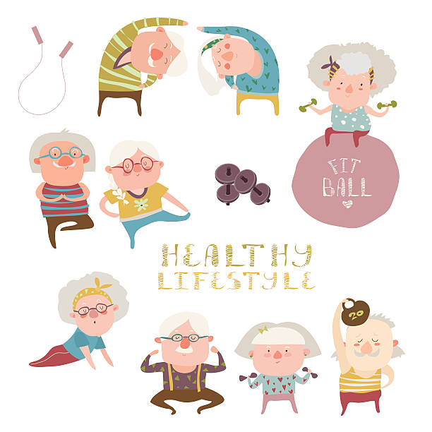 bildbanksillustrationer, clip art samt tecknat material och ikoner med sey of elderly people doing exercises - active senior