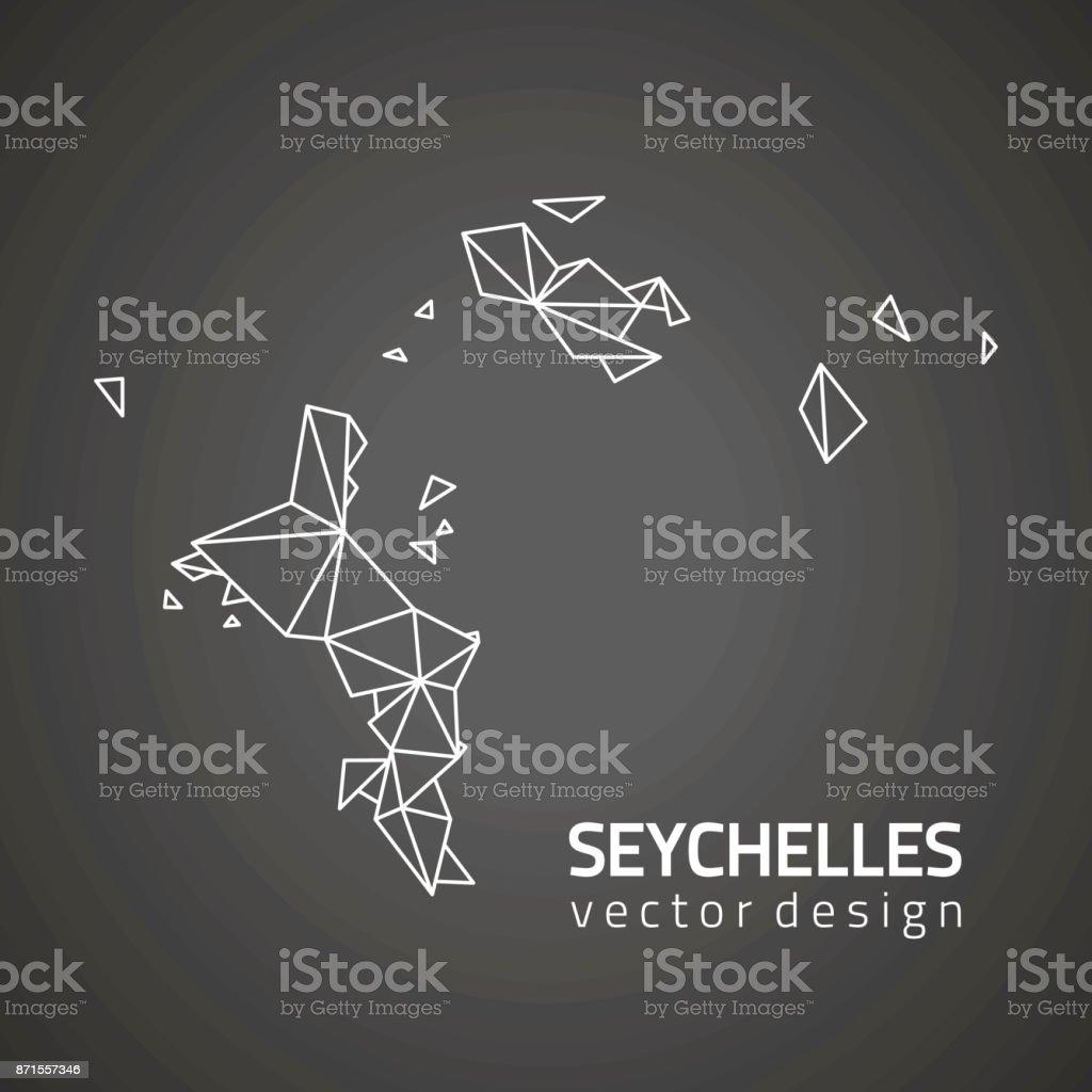 Seychelles dark vector contour map vector art illustration