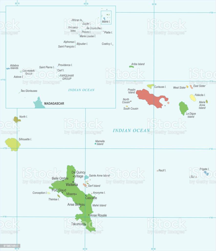 Ilustracion De Seychelles Mapa Ilustracion Vectorial