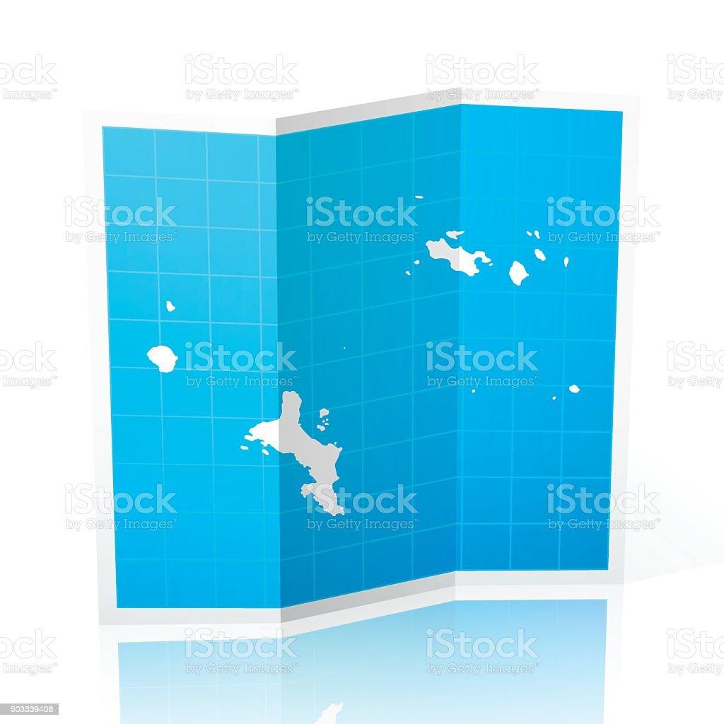 Seychelles Map folded, isolated on white Background vector art illustration
