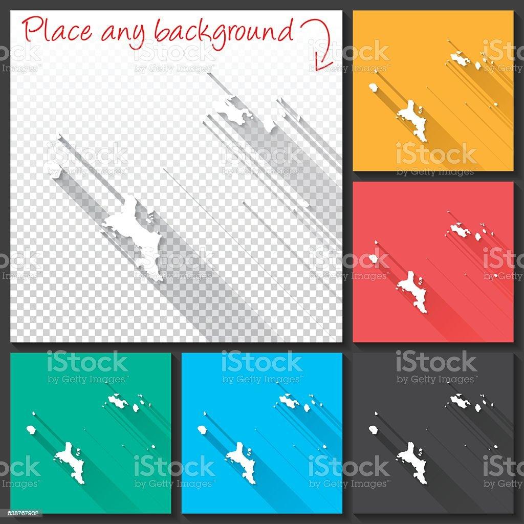 Seychelles Map for design, Long Shadow, Flat Design vector art illustration