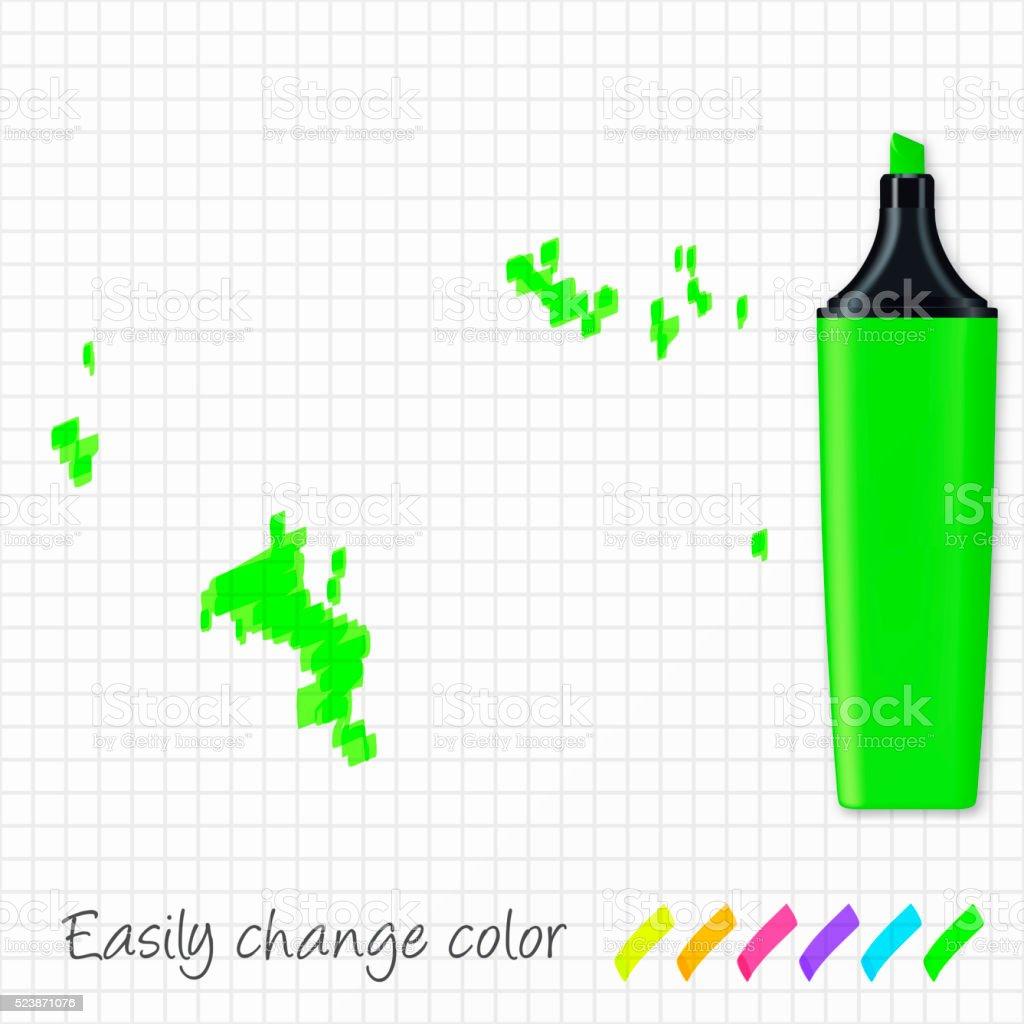 Seychelles map hand drawn on grid paper, green highlighter vector art illustration