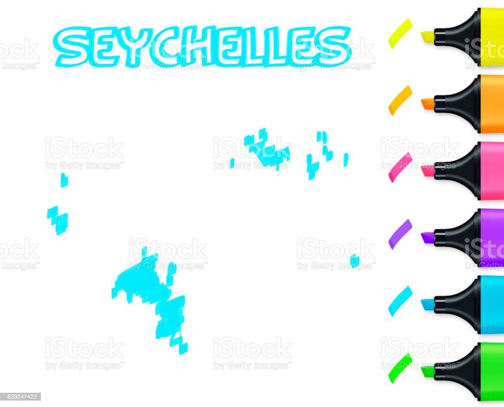 Seychelles map hand drawn on white background, blue highlighter vector art illustration