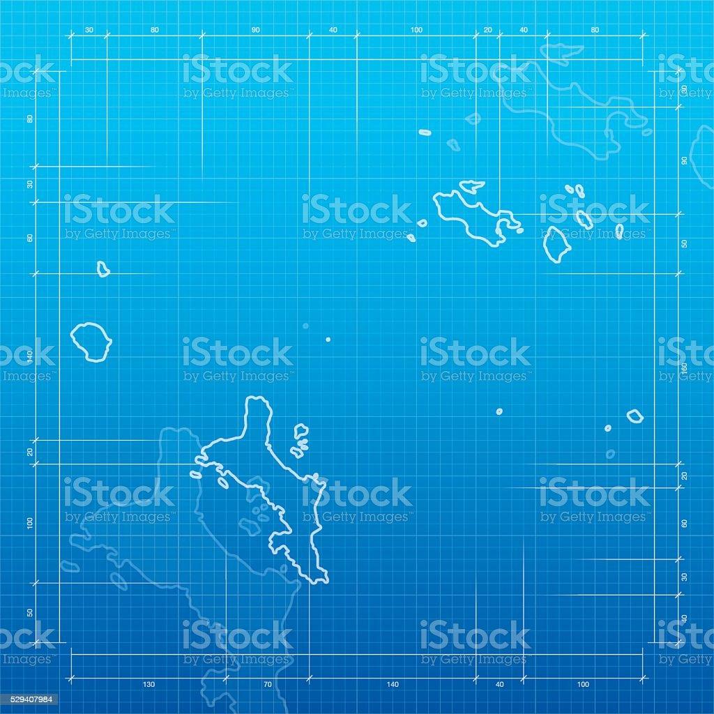 Seychelles map on blueprint background vector art illustration