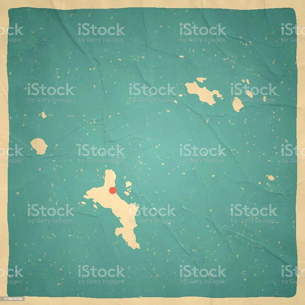 Seychelles Map on old paper - vintage texture vector art illustration