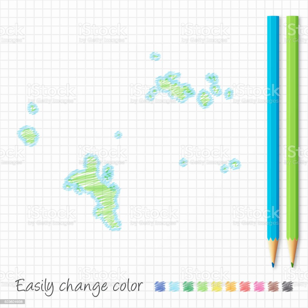 Seychelles map sketch with color pencils, on grid paper vector art illustration