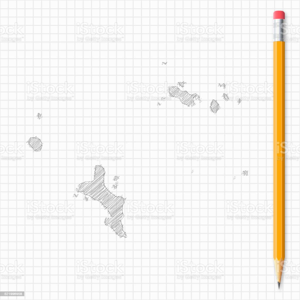 Seychelles map sketch with pencil on grid paper vector art illustration