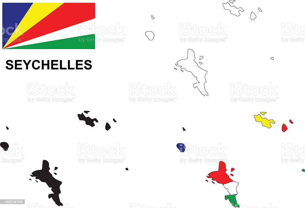 Seychelles map vector, Seychelles flag vector, isolated Seychelles vector art illustration
