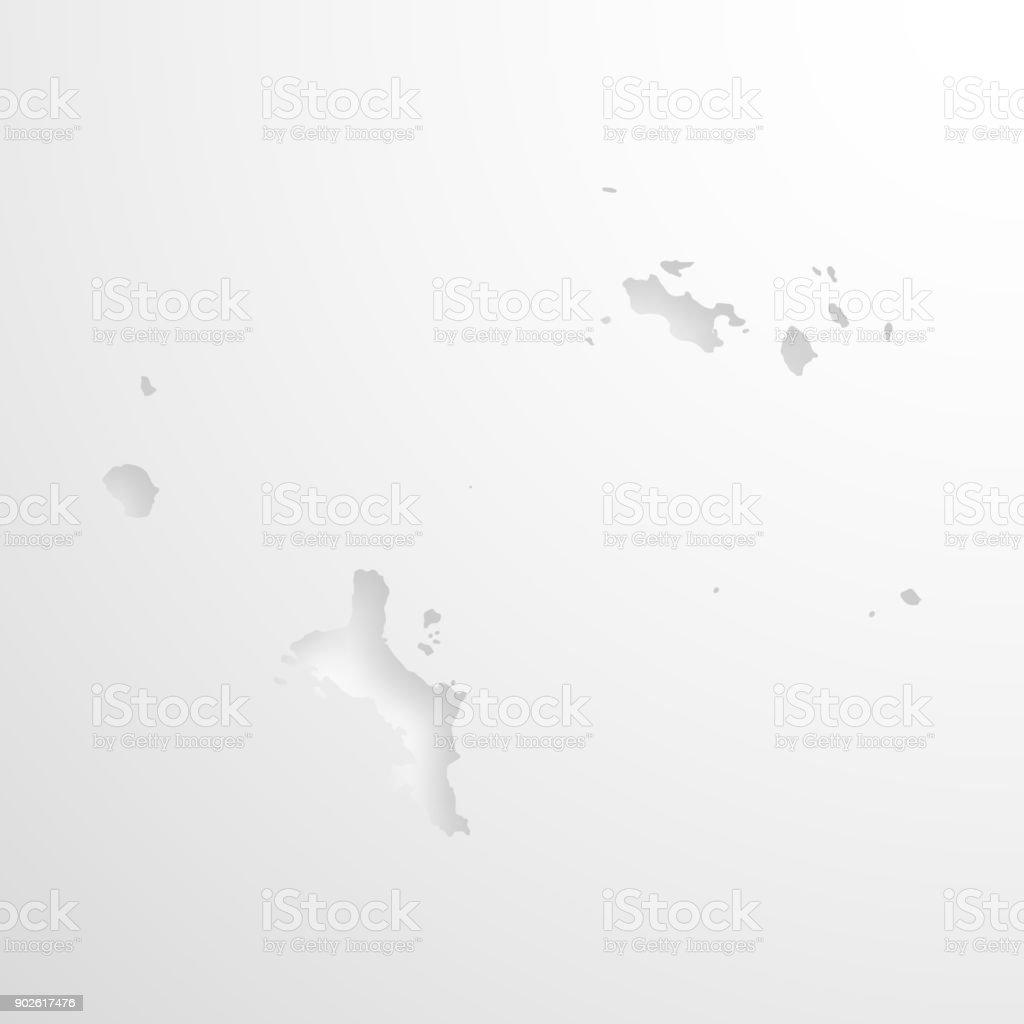 Seychelles map with embossed paper effect on blank background vector art illustration