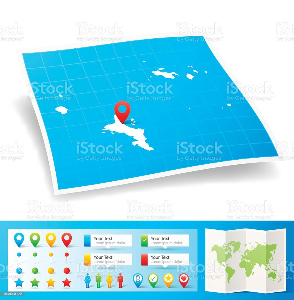 Seychelles Map with location pins isolated on white Background vector art illustration