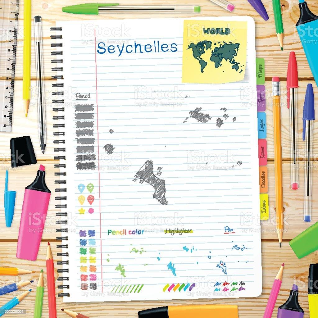Seychelles maps hand drawn on notebook. Wooden Background vector art illustration