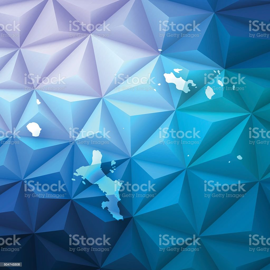 Seychelles on Abstract Polygonal Background - Low Poly, Geometric vector art illustration