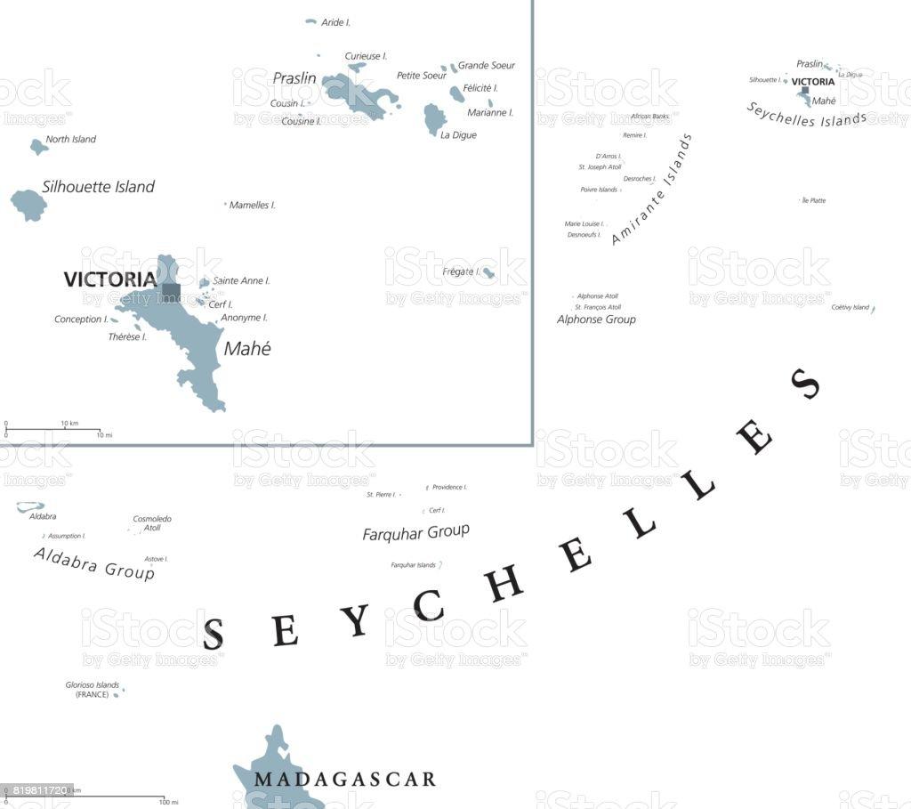 Seychelles political map vector art illustration