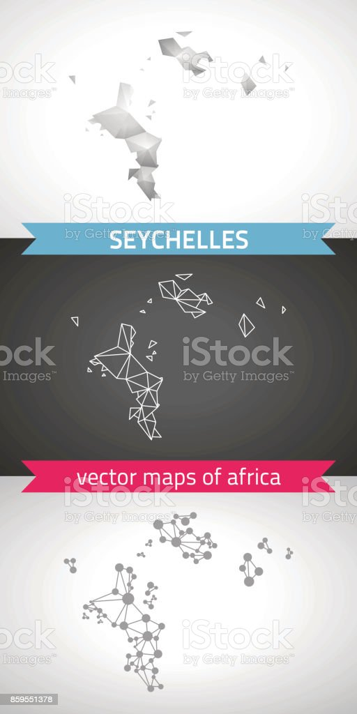 Seychelles set of grey and silver mosaic 3d polygonal maps. Graphic vector triangle geometry outline shadow perspective maps vector art illustration