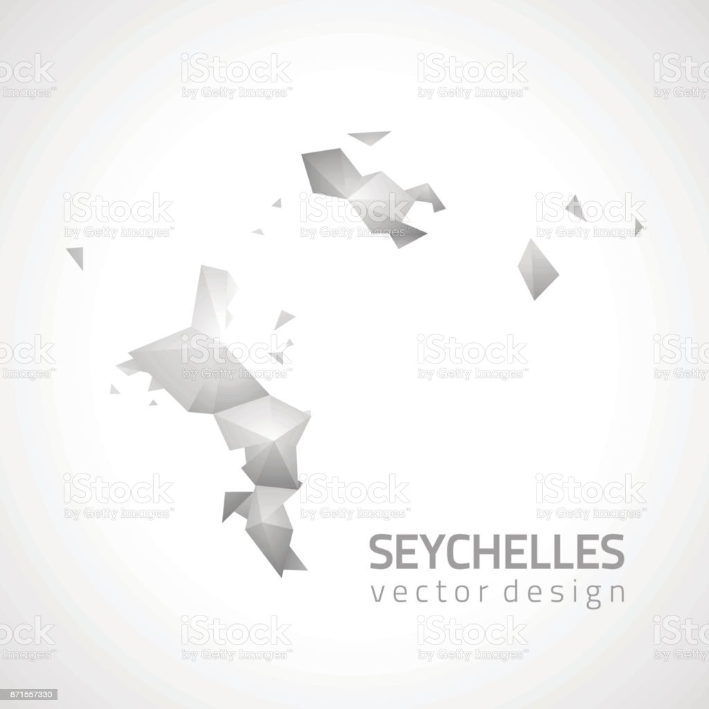Seychelles vector polygonal grey and silver triangle map vector art illustration