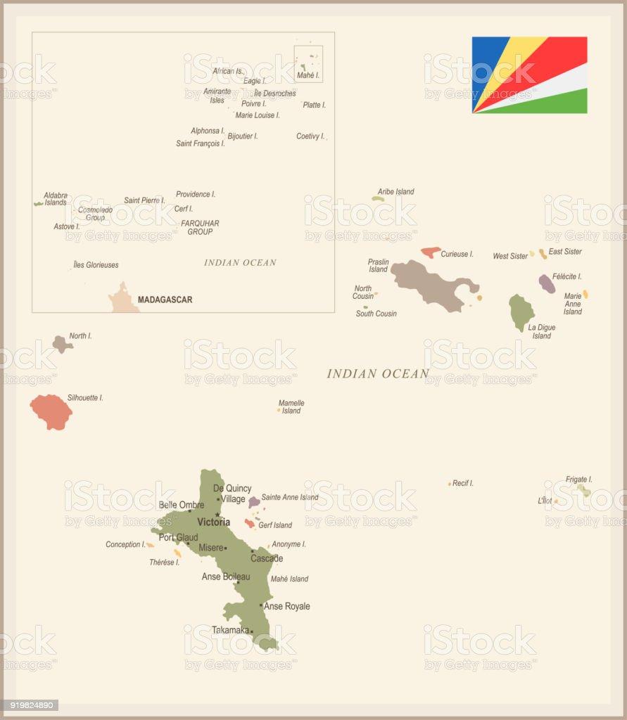 Karte Seychellen.Seychellen Vintage Karte Und Flagge Detaillierte