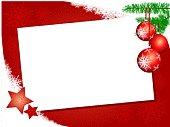 Sfondo natalizio con decorazioni e biglietto bianco