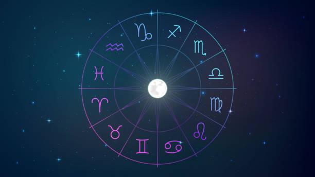 ilustrações de stock, clip art, desenhos animados e ícones de sgns of the zodiac in night sky - astrologia