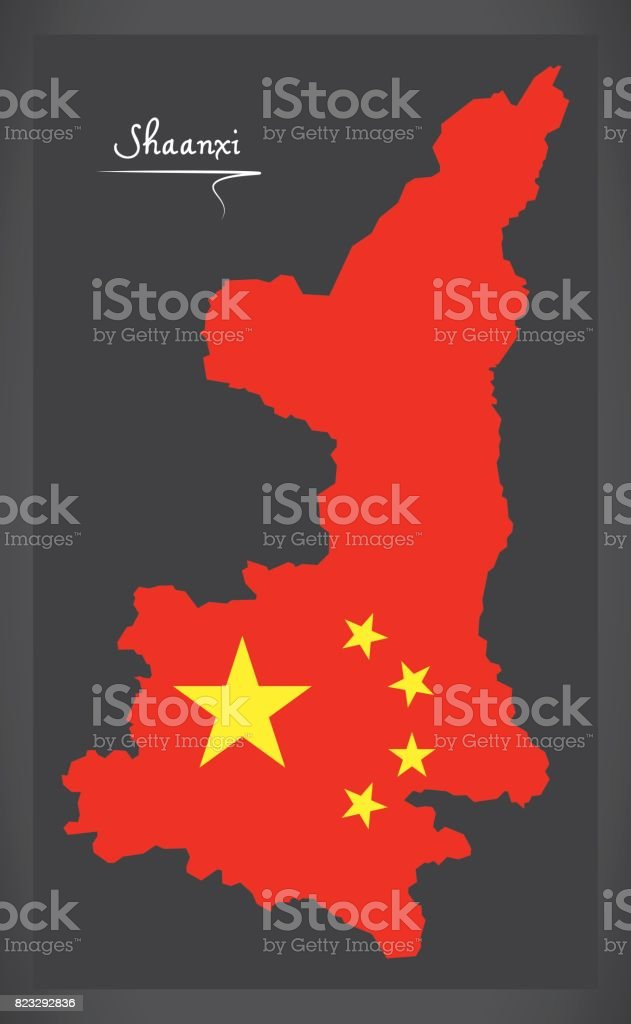 Shaanxi China map with Chinese national flag illustration vector art illustration