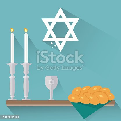 istock Shabbat candles, kiddush cup and challah in flat style. 516891900
