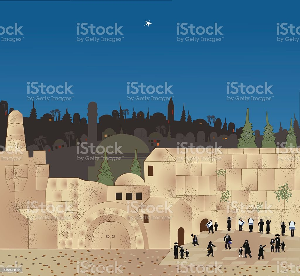 Shabbat In Jerusalem, the Wailing Wall vector art illustration