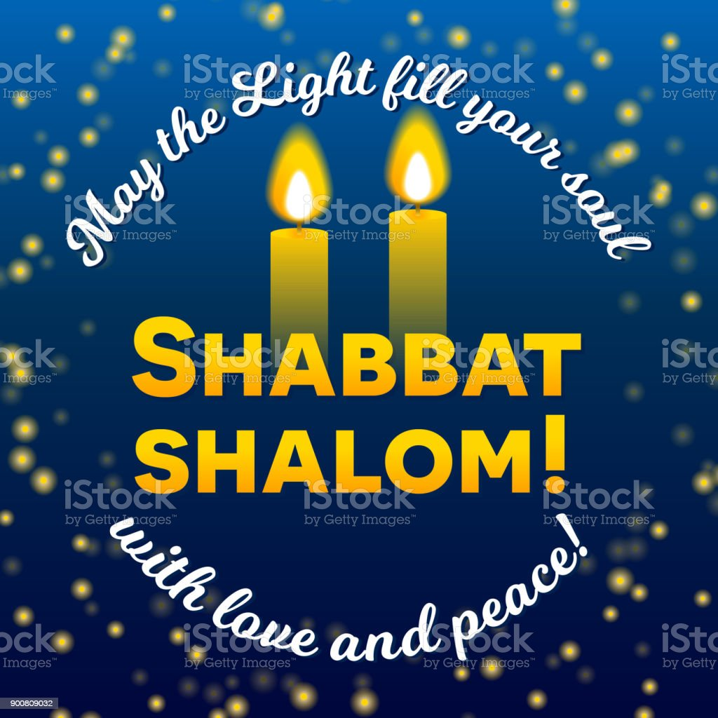 Shabbat Shalom Candles Greeting Card Lettering Stock