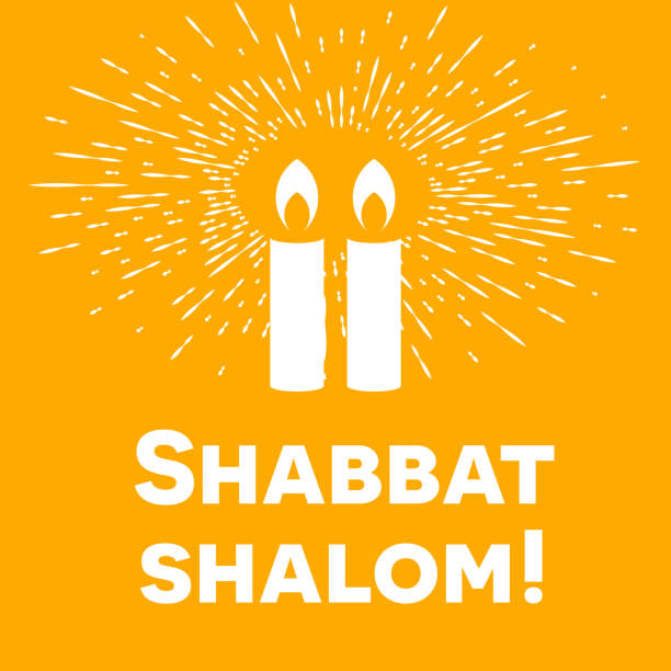 Shabbat shalom candles greeting card lettering vector art illustration
